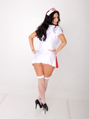 Long-haired nurse shows the red bra and panty set - XXXonXXX - Pic 8