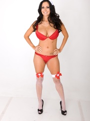 Long-haired nurse shows the red bra and panty set - XXXonXXX - Pic 13