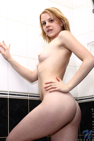 Blonde chick goes to the bathroom to get a shower and pleasures herself by fucking her pussy - XXXonXXX - Pic 4
