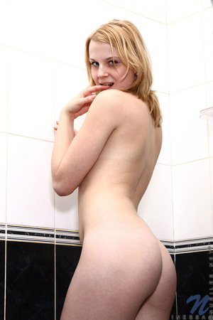 Blonde chick goes to the bathroom to get a shower and pleasures herself by fucking her pussy - XXXonXXX - Pic 7