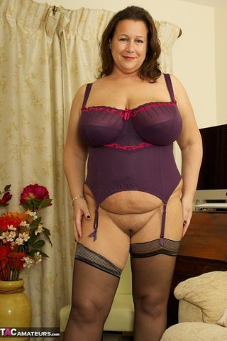 brunette milf purple lingerie