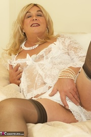 tranny with blonde wig