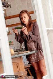 brunette milf brown polka