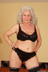 gray-haired granny with big