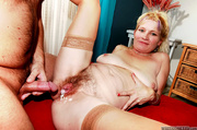 blonde granny stockings and