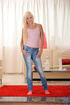 Sweet blond strips off her tight jeans and exposes her perfectly round
