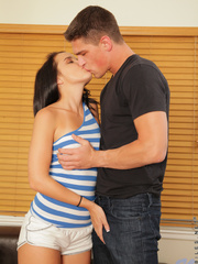 Sexy tanned brunette bitch kisses a horny guy and - XXXonXXX - Pic 1