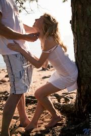 beautiful young couple beach
