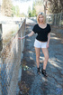 Lusty blond don't mind to go naked on the street and have sweet masturbation
