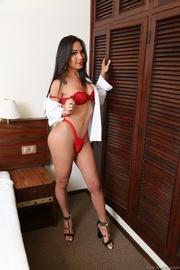 hot brunette red lingerie