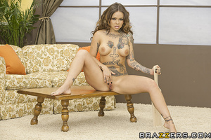 Leashed European brunette fucked by a tatted-up lesbo - XXXonXXX - Pic 5