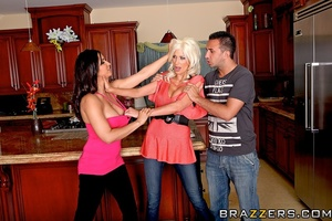 Skinny tall blonde with massive jugs fucks with a brunette - XXXonXXX - Pic 9