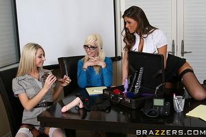 Skinny slender secretary strokes pussy on the table - XXXonXXX - Pic 12