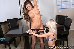 Skinny slender secretary strokes pussy on the table - XXXonXXX - Pic 14