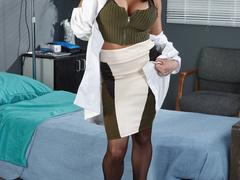 Nurse in black stockings is getting facialized by - XXXonXXX - Pic 1
