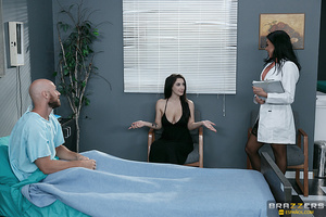 Nurse in black stockings is getting facialized by her patient - XXXonXXX - Pic 5