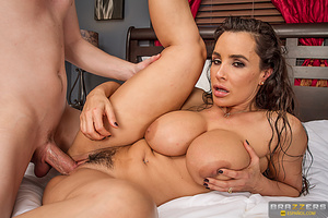 Busty milf with hairy pussy fucked on the white bed - XXXonXXX - Pic 10