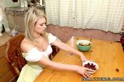blonde babe white stockings