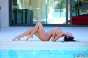 Black haired brunette slowly taking off her blue dress outdoors before fingering her itchy twat by the pool - XXXonXXX - Pic 6