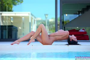 Black haired brunette slowly taking off her blue dress outdoors before fingering her itchy twat by the pool - XXXonXXX - Pic 7