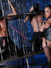 Fishnets-wearing brunette in a corset fucked by - XXXonXXX - Pic 8