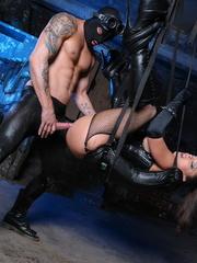 Fishnets-wearing brunette in a corset fucked by - XXXonXXX - Pic 9