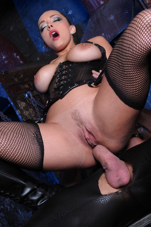 Fishnets-wearing brunette in a corset fucked by her slaves - XXXonXXX - Pic 10