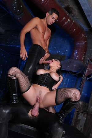 Fishnets-wearing brunette in a corset fucked by her slaves - XXXonXXX - Pic 11