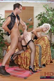 blonde grandma black stockings