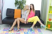 antalizing brunette and blonde