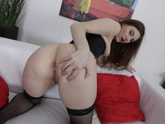 Pretty brunette wearing black bedazzled corset and - XXXonXXX - Pic 9