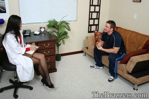 Young brunette doctor in red gives her client a passionate fuck - XXXonXXX - Pic 1