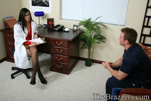 Young brunette doctor in red gives her client a passionate fuck - XXXonXXX - Pic 2