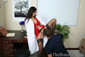 Young brunette doctor in red gives her client a passionate fuck - XXXonXXX - Pic 3