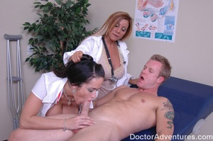 Horny blonde doctor forced her busty nurse on a threesome - XXXonXXX - Pic 5