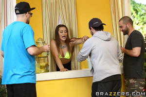 Cute brunette babe fucked doggy style while selling fresh drinks - XXXonXXX - Pic 15