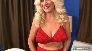 blonde granny red lingerie