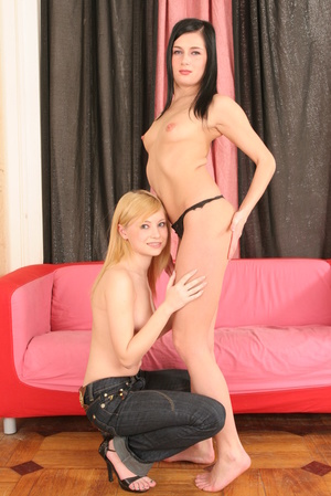 Two Slavic babes in tight jeans share a massive cock - XXXonXXX - Pic 9