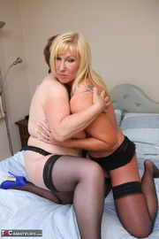 blonde cougar black lingerie