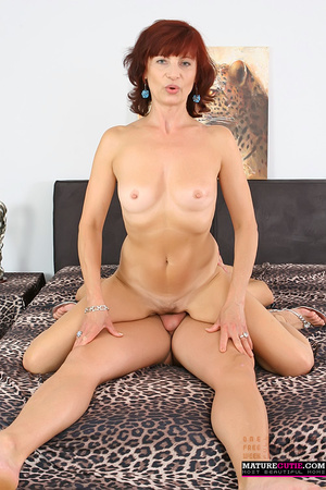Mature redhead with small breast and blue eyes riding shaved pecker on the wide bed - XXXonXXX - Pic 3