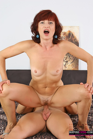 Mature redhead with small breast and blue eyes riding shaved pecker on the wide bed - XXXonXXX - Pic 8