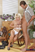 Blonde granny in white undies giving a head to young dude in the chair