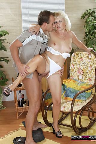 mature blonde white undies