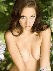 luscious brunette displays her