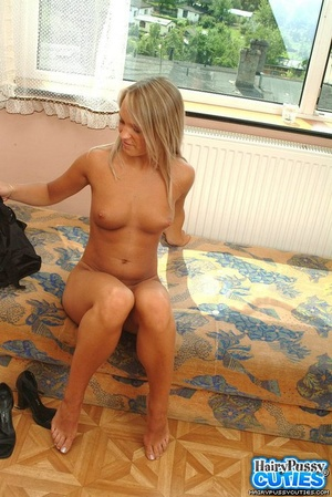 Big boobied blonde taking off her sexy lingerie on the sofa and then fingering her hairy fuck hole - XXXonXXX - Pic 8