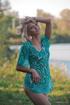 skinny blonde green dress