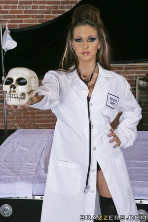 Sexy scientist wakes Frankenstein, and she and another babe share his huge cock. - XXXonXXX - Pic 3