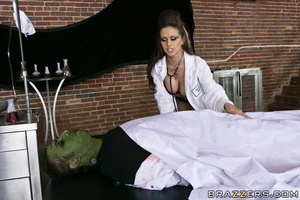 Sexy scientist wakes Frankenstein, and she and another babe share his huge cock. - XXXonXXX - Pic 9