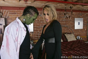 Sexy scientist wakes Frankenstein, and she and another babe share his huge cock. - XXXonXXX - Pic 11