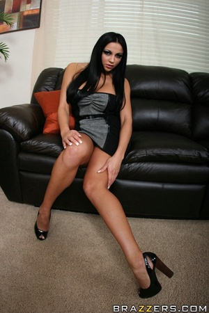 Tan chick's long, dark hair is pulled while she gets fucked hard on a black couch. - XXXonXXX - Pic 3